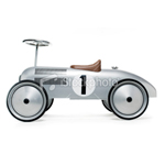 retro silver kids sit on push car