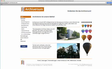 Screen shot of the home page of Archiversum.com. Buildings and ballons are the main images.