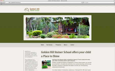 Screen shot of the Golden Hill School website front page