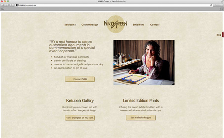 Screenshot of Nikki's home page with one image of Nikki sitting at her desk.
