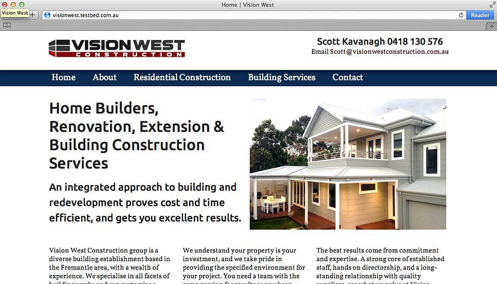 Vision West home page screen shot with their logo and a photo of a white house.