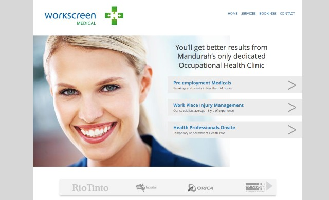 A screenshot of the Workscreen website home page with a very smilie lady.