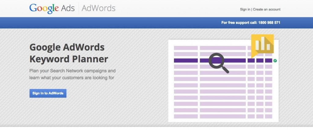 Google Adwords Keyword Planner Home Page